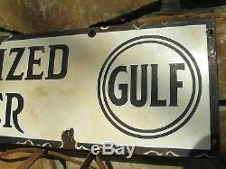 1930's GULF Service Station Sign Oil Gas Dealer Double Sided Porcelain Enamel