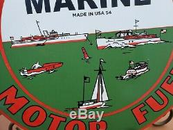 1954 Texaco Marine Motor Oil Porcelain Sign Service Station Gas Sign Outboard