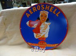 Aeroshell Gas Oil Porcelain Aviation Pinup Service Station Pump Sign