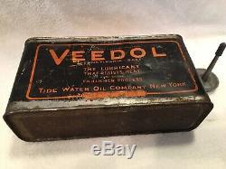 Antique Veedol 1/2 Gallon Motor Oil Can Gas Service Station Rare 1/2 Gallon Read