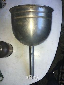 Antique Vtg Copper Oil Can Rare Service Gas Station Metal Funnel Spout
