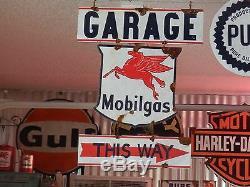 Antique style-porcelain look Mobilgas oil service station gas pump sign set Nice