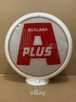 Ashland Plus Gas Pump Globe Light Vintage Glass Lens Service Station Garage