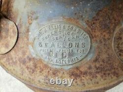 C1920's Fluted Sunoco Ellisco Embossed Service Station Gas Oil Can Garage