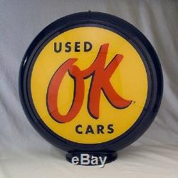 CHEVROLET OK USED CARS gas pump globe SIGN SERVICE filling fuel STATION DECOR