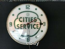Cities Services Gas Station Clock, Lighted Pam Clock, Vintage Advertising Sign