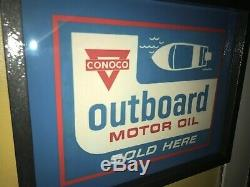 Conoco Outboard Motor Oil Gas Service Station Garage Lighted Advertising Sign