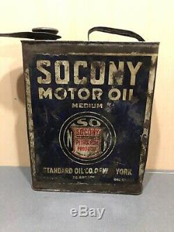 Early Vintage 1 Gallon SOCONY Standard Motor Oil Can Gas Service Station NY
