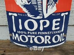 Large 21 Tiopet Gasoline Sign Porcelain Gas Pump Plate Service Station Can