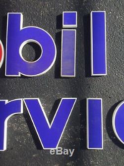 Large Vintage Original MOBIL SERVICE Motor Oil & Gas Station Letters Sign NOS