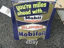 Mobile Gas Station Oil Service Station Rare Sign 50's 60's 70's 40x42 Nice Wow