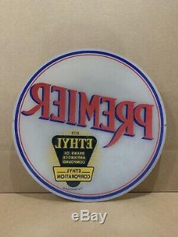 Premier Ethy Gas Pump Globe Light Vintage Glass Lens Service Station Garage Sign