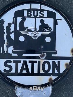 Public Service Bus Station Porcelain Sign Gas Oil Travel Vintage Transportation