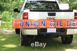 RARE 1940's UNION OIL DEALER PORCELAIN GAS STATION METAL SIGN OIL SERVICE TRUCK