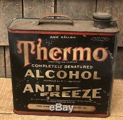 RARE Vintage THERMO ALCOHOL Anti Freeze 1 Gallon Gas Service Station Can