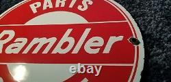 Rambler Porcelain Gas Automobile Service Station Vintage Style Dealership Sign