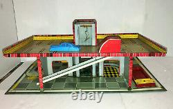 Rare 1949 T. Cohn Gas Service Station Tin Litho Toy Playset with accessories