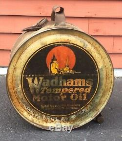Rare Vintage 5 GL WADHAMS Tempered Motor Oil Rocker Can Gas Service Station Sign