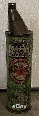 Scarce Vintage Texaco 1/2 Gallon Easy pour Oil Can / Sign / Gas Service Station