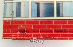 Texaco Tin Litho Service Gas Station WOLVERINE Vintage 1960s Toy Red Brick Blue