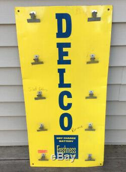 VINTAGE DELCO SERVICE Gas STATION Battery Parts Advertising DISPLAY SIGN