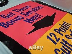 VTG LARGE GULF Gas Oil Service Station Pilaster Poster Sign 12 Point Safety Serv