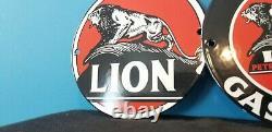 Vintag Two Lion Gasoline Porcelain Gas Auto Service Station Door Ad Pump Sign 6