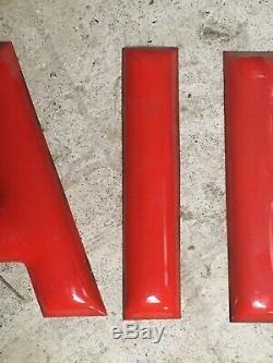 Vintage 12 Steel Red Porcelain Sign Letters AIR Old Gas Service Station Shop