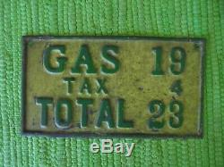 Vintage 1920's 1930's Gas + Tax SIGN Pump Plate Price Gas Service Station Tag