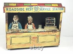 Vintage 1930's Marx Gas SERVICE STATION Roadside Rest Building Only Tin Litho