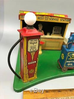 Vintage 1930s Tin Litho Marx Roadside Rest Service Station Gas Oil