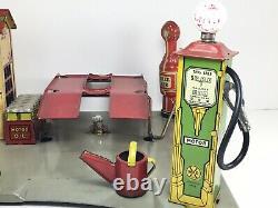 Vintage 1930s Tin Litho Marx Roadside Rest Service Station Gas Oil Tin Litho