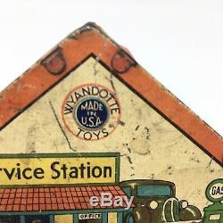 Vintage 1938 Two-Car Garage Tin Litho Service Gas Station Wyandotte Toys #501