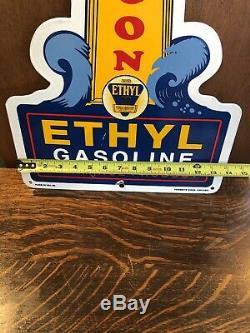 Vintage 1959 Beacon With Ethyl Gasoline Porcelain Gas Service Station Pump Sign