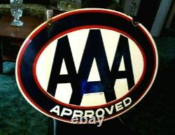 Vintage 30 x 22 AAA Auto Club Approved Service Station Porcelain Sign, Gas Oil