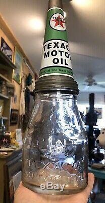 Vintage 30s Original Gas Service Station TEXACO Motor Oil 1 Pint Glass Bottle
