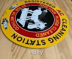 Vintage Ac Spark Plugs Porcelain Sign Service Station Gas Oil Pump Plate Rare! Nr