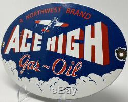 Vintage Ace High Gas & Oil Porcelain Sign Gasoline Service Station Pump Plate