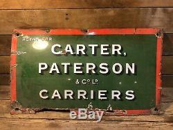 Vintage Antique Carter Paterson Porcelain Sign Gas Pump Service Station Truck