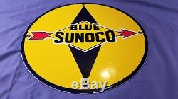 Vintage Blue Sunoco Gasoline Porcelain Gas Service Station Pump Plate Ad Sign