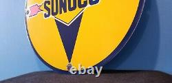 Vintage Blue Sunoco Gasoline Porcelain Gas Service Station Pump Plate Rack Sign