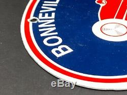 Vintage Bonneville Salt Flats Porcelain Sign Gas Oil Pump Plate Service Station