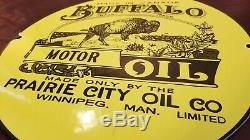 Vintage Buffalo Gasoline Porcelain Gas Motor Oil Service Station Pump Plate Sign