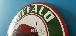 Vintage Buffalo Gasoline Porcelain Gas Service Station Pump Plate Sign