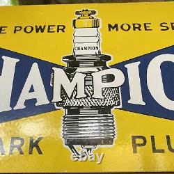 Vintage Champion Spark Plugs Porcelain Metal Sign USA Oil Gas Service Station