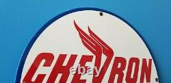Vintage Chevron Gasoline California Oil Metal Gas Service Station Sign