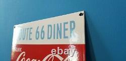 Vintage Coca Cola Porcelain Route 66 Gas Beverage Service Station Sign