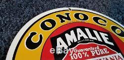 Vintage Conoco Gasoline Porcelain Amalie Gas Service Station Pump Plate Ad Sign