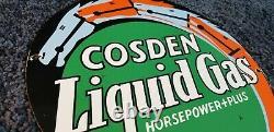 Vintage Cosden Gasoline Porcelain Liquid Gas Service Station Pump Sign