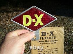Vintage D-X Flashad nos License Plate Topper auto sign Gas Oil service station